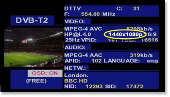 Demodulación de DVB-T2 en un TV EXPLORER HD+