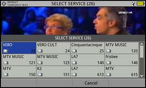 Selecting a service from the current DVB-S2 multiplex