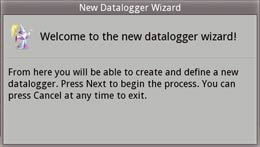 Datalogger wizard welcome dialog box in the field strength meter screen