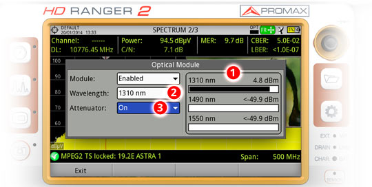 Check and select the wavelengths in the system, and set ON or OFF the field strength meter attenuator