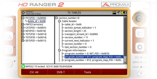 Displaying the TS metadata using the built-in RANGER Neo 2 field strength meter transport stream analyser function