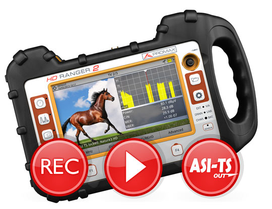 Record and play out the T2-MI using a field strength meter from PROMAX