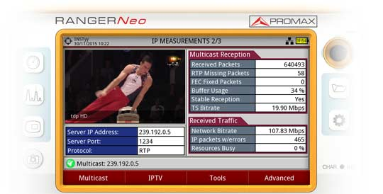 One of the three measurement screens for IPTV available in the RANGER Neo