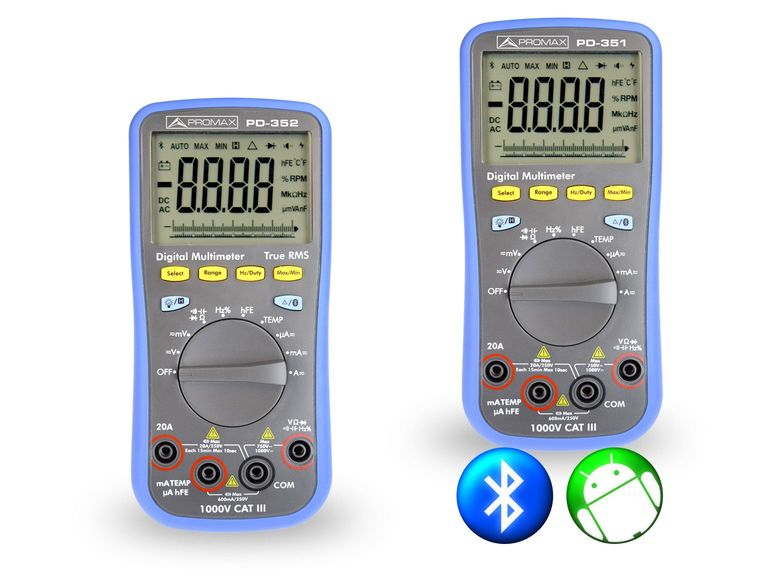 Digital multimeters with RMS and bluetooth control via Android app